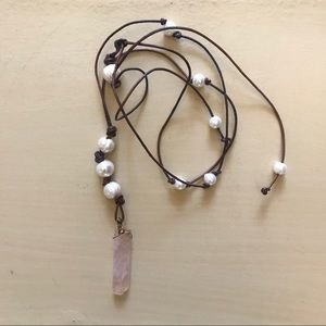 Rose quartz and pearl healing necklace